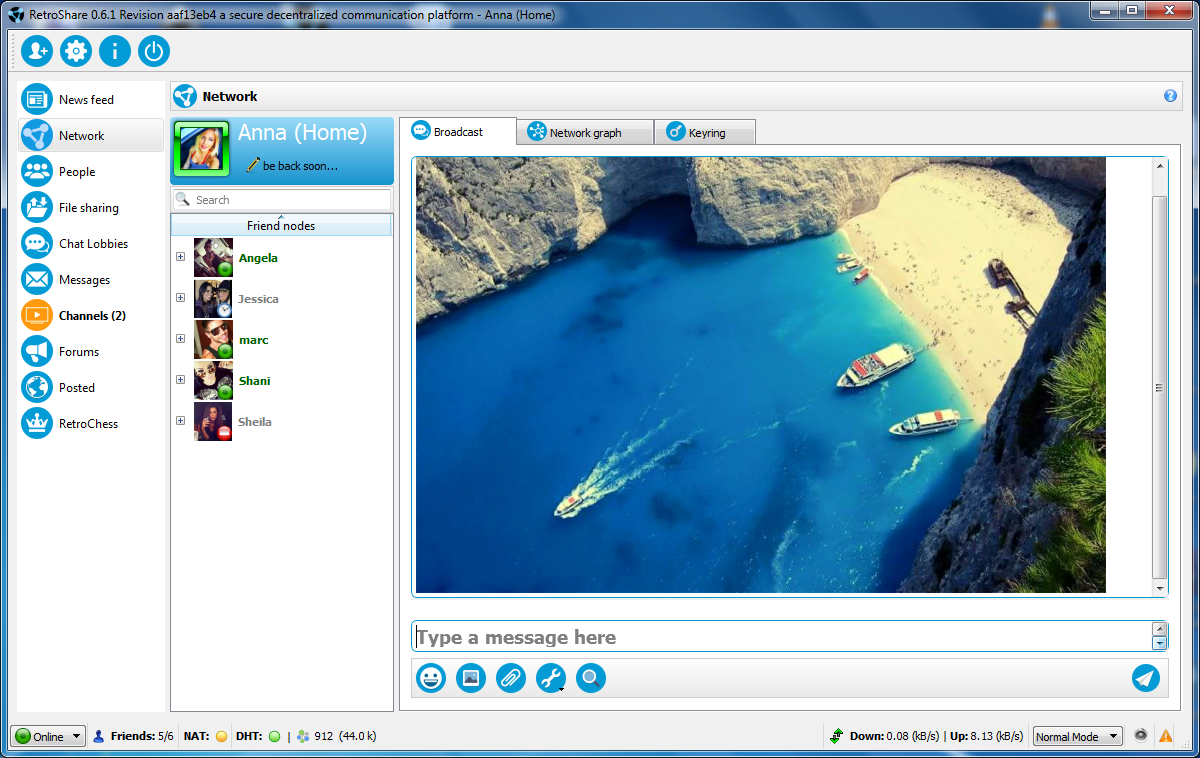 Retroshare for Mac OS X full screenshot