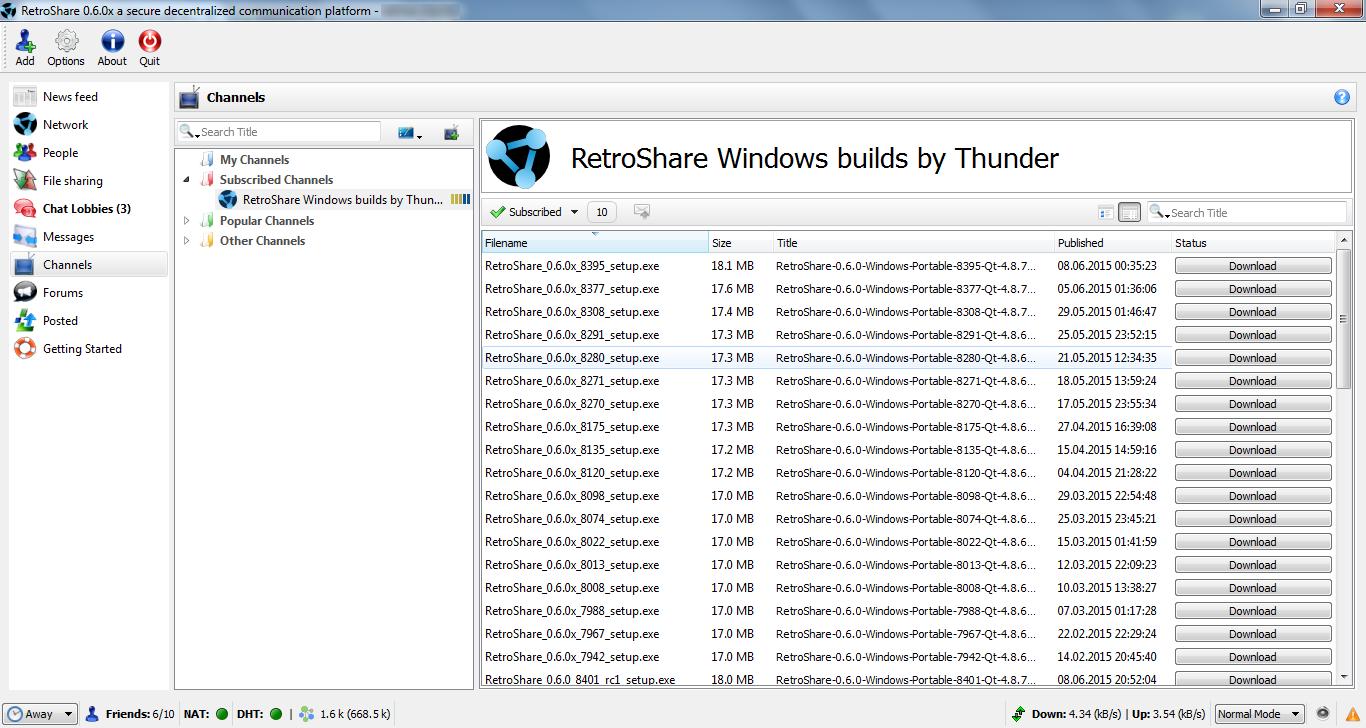 Retroshare for Linux full screenshot