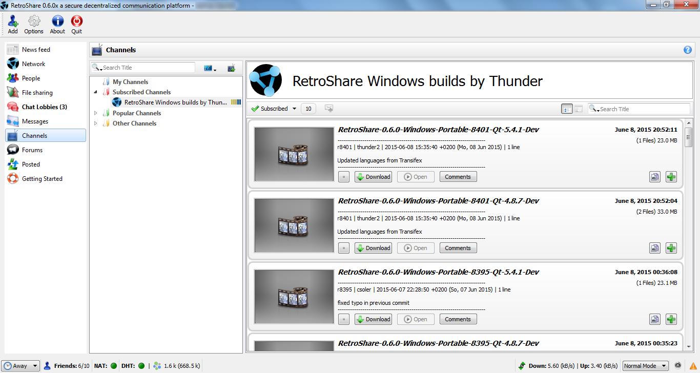 Portable Retroshare screenshot