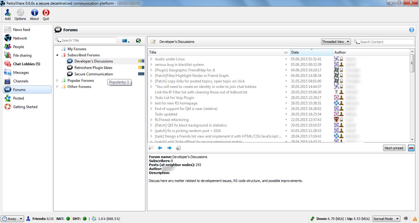 Retroshare for Mac OS X screenshot